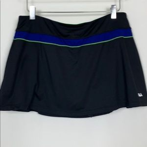 Fula black skort with neon green/ blue accents XXL